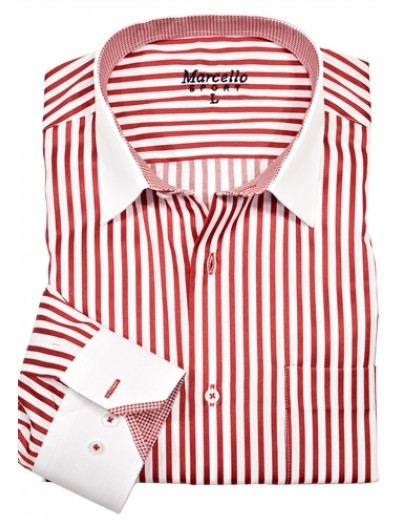 Men's Fashion Shirt by Marcello Sport - Red Stripe