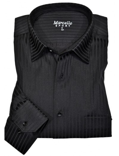Men's Fashion Shirt by Marcello Sport - Charcoal Shadow Stripe