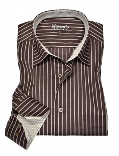 Men's Fashion Shirt by Marcello Sport - Chocolate Stripe
