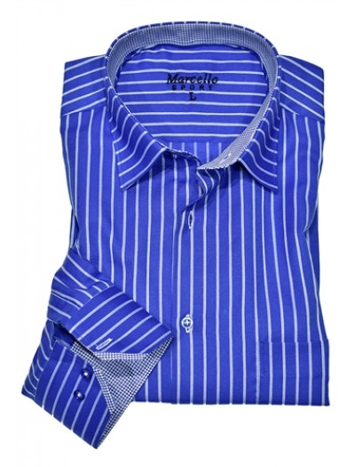 Men's Fashion Shirt by Marcello Sport - Blue Stripe