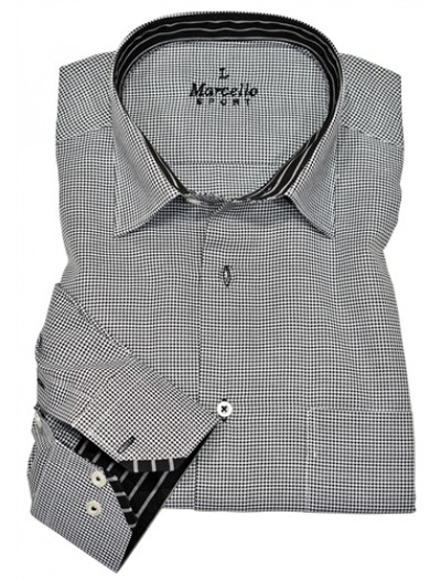 Men's Fashion Shirt by Marcello Sport - Black Houndstooth