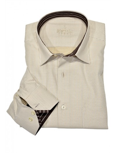 Men's Fashion Shirt by Marcello Sport - Tan Houndstooth