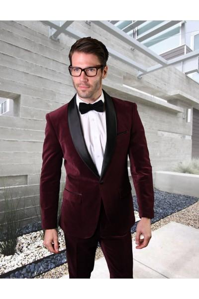 Men's Suit - Modern Fit - Burgundy Velvet