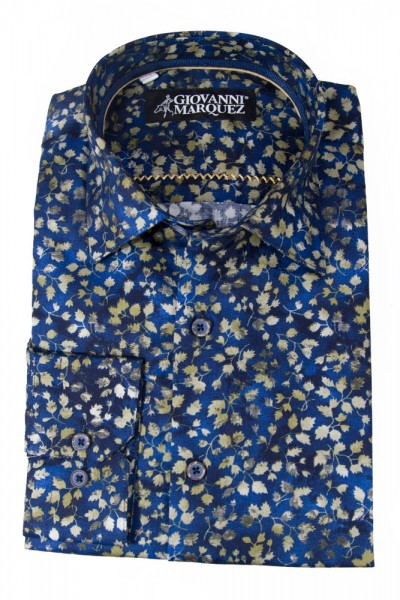 Giovanni Marquez Sport Shirt- Royal Blue / Gold Leaves