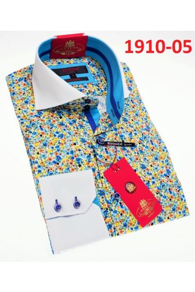 Men's Fashion Shirt by AXXESS - Blue Pixels