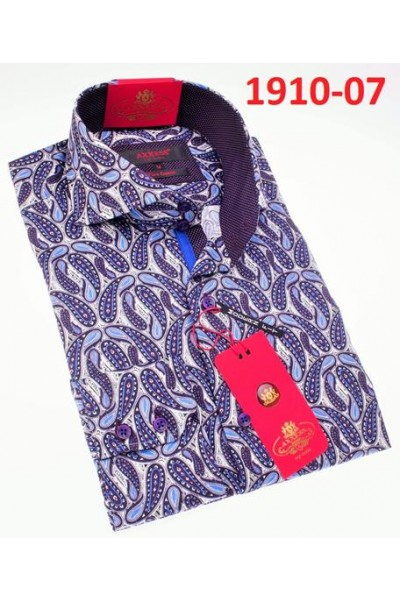 Men's Fashion Shirt by AXXESS - Boteh Purple