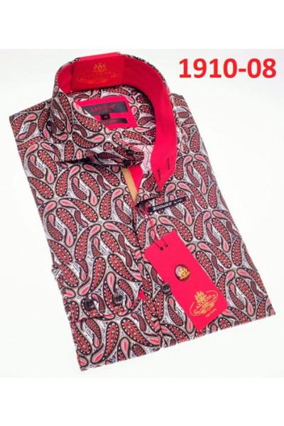 Men's Fashion Shirt by AXXESS - Boteh Red