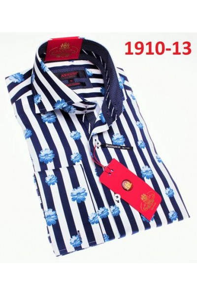 Men's Fashion Shirt by AXXESS - Navy / Flower Stripe