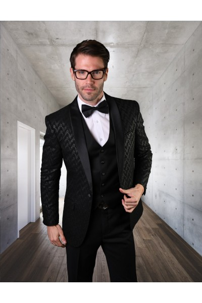 Men's Suit - Modern Fit - Black Chevron Velvet