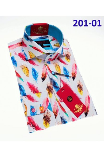 Men's Fashion Shirt by AXXESS - Feather Multi
