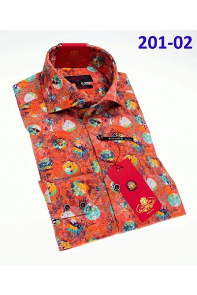 Men's Fashion Shirt by AXXESS - Pattern Orange