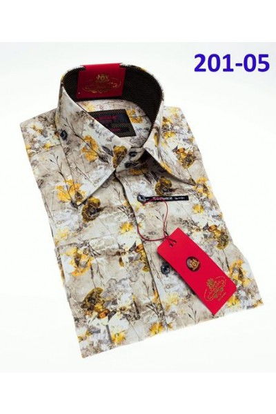 Men's Fashion Shirt by AXXESS - Yellow Flowers