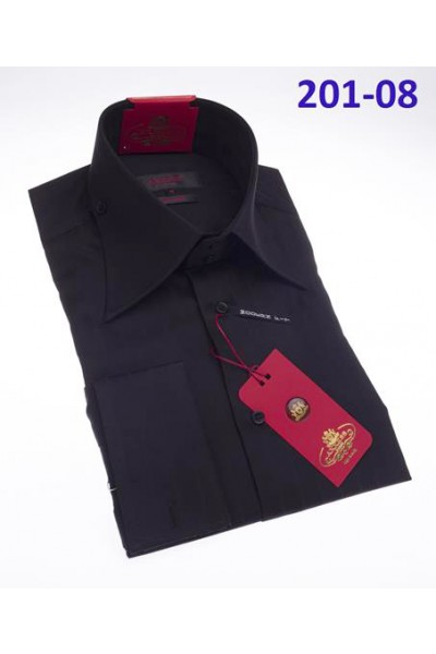 Men's Fashion Shirt by AXXESS - Black / Tab Collar
