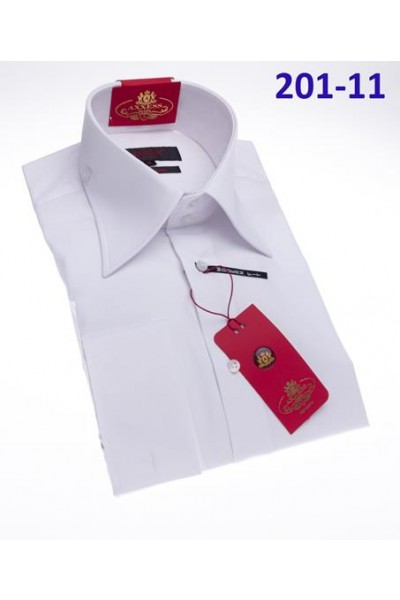 Men's Fashion Shirt by AXXESS - White / Tab Collar