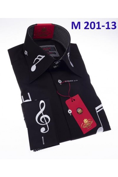 Men's Fashion Shirt by AXXESS - Music / BW