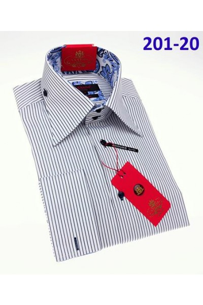 Men's Fashion Shirt by AXXESS - Navy Pinstripe