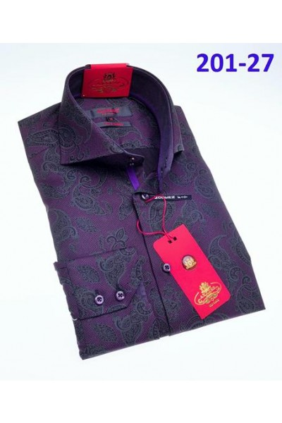 Men's Fashion Shirt by AXXESS - Paisley / Purple