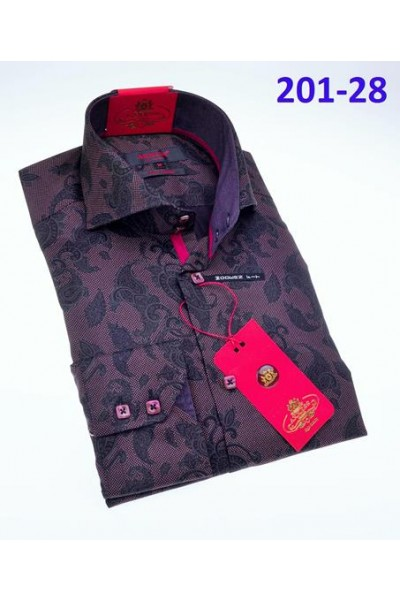 Men's Fashion Shirt by AXXESS - Purple Paisley