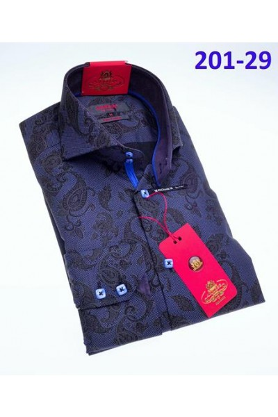 Men's Fashion Shirt by AXXESS - Blueberry Paisley