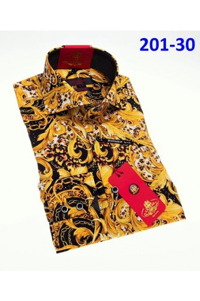 Men's Fashion Shirt by AXXESS - Baroque Blk/Gold