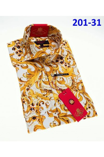 Men's Fashion Shirt by AXXESS - Baroque Wht/Gold