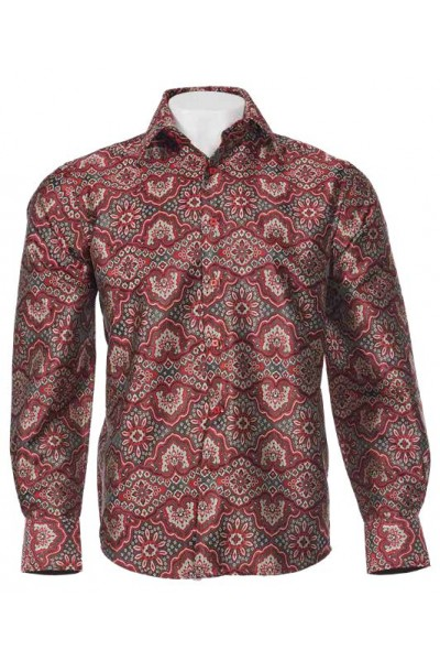 Men's Fashion Shirt by Merc/InSerch - Jacquard / Pattern Red a