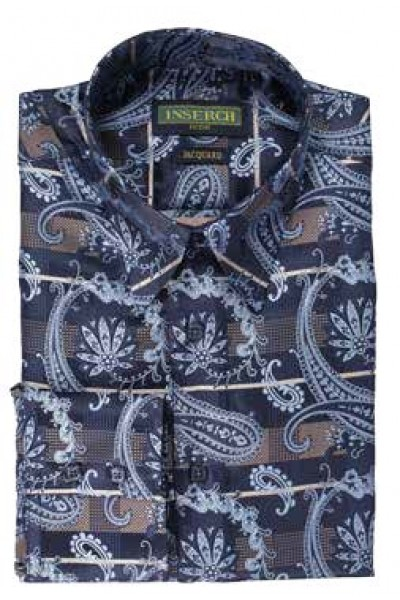 Men's Fashion Shirt by Inserch / Merc - Navy Paisley