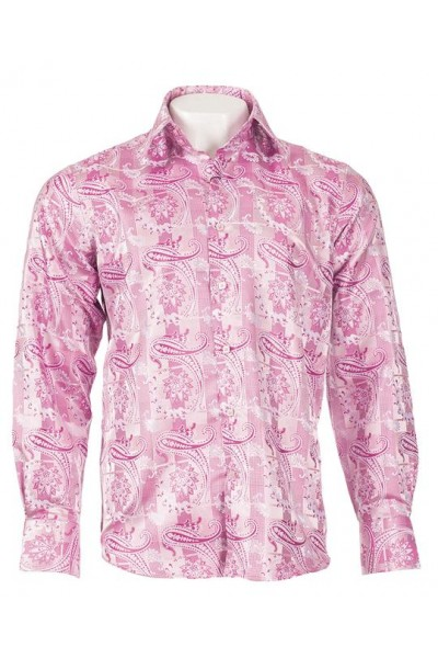 Men's 100% Cotton Shirt by Inserch / Merc - Pink Paisley a