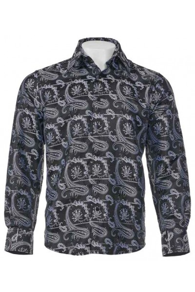 Men's Fashion Shirt by Merc/InSerch - Jacquard / Pattern Black