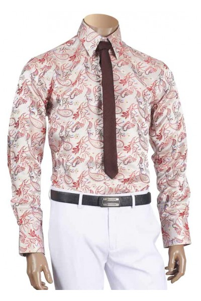 Men's Fashion Shirt by Inserch / Merc - Paisley Jacquard - Red