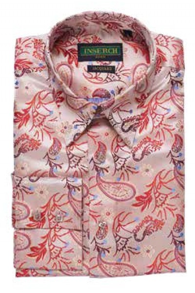 Men's Fashion Shirt by Merc/InSerch - Jacquard / Red Paisley a