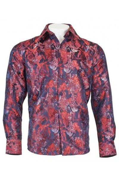 Men's Fashion Shirt by Merc/InSerch - Jacquard / Pattern Red