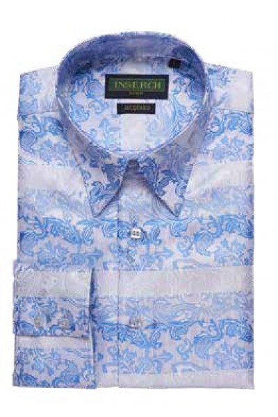 Men's Fashion Shirt by Merc/InSerch - Jacquard / Lt Blue Pattern a