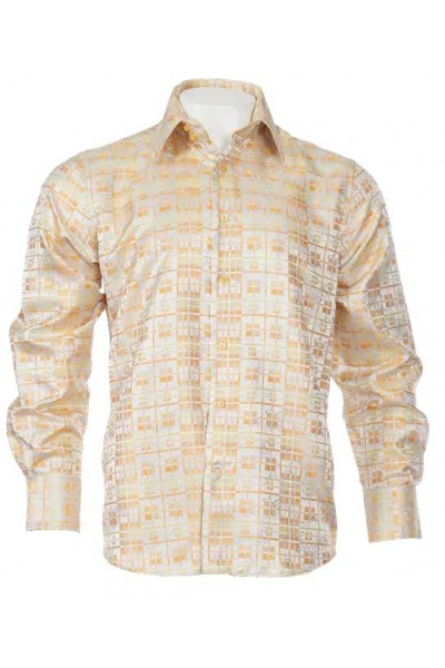 Men's Fashion Shirt by Merc/InSerch - Jacquard / Pattern Yellow a