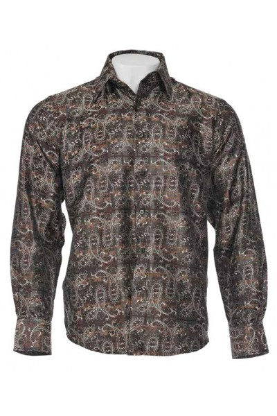 Men's Fashion Shirt by Merc/InSerch - Jacquard / Pattern Brown a
