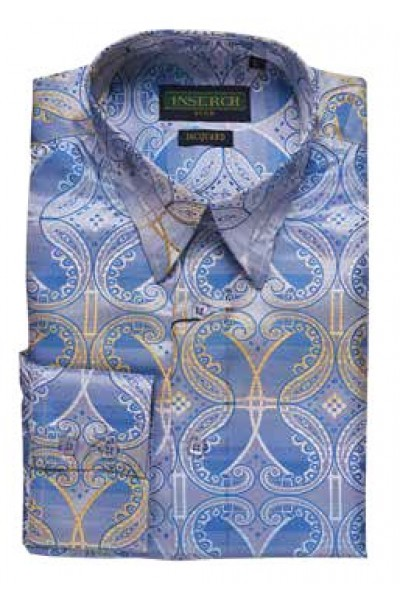 Men's Fashion Shirt by Inserch / Merc - Paisley Jacquard  sky blue