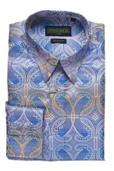 Men's Fashion Shirt by Merc/InSerch - Jacquard / Sky Blue Pattern a