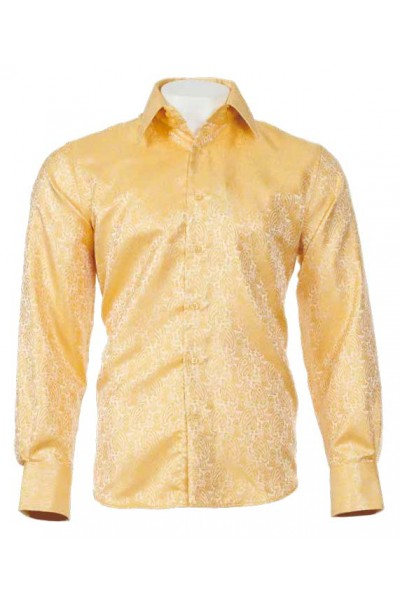 Men's Fashion Shirt by Merc/InSerch - Paisley Jacquard / Gold a