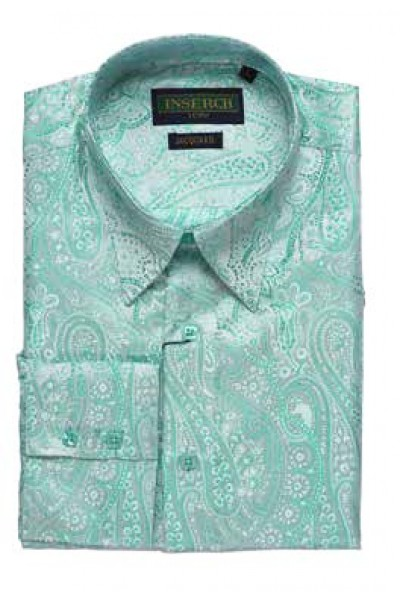 Men's Fashion Shirt by Inserch / Merc - Paisley Jacquard - Aqua Blue