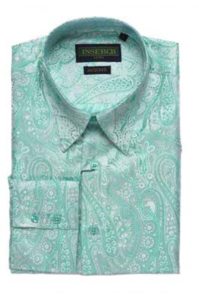 Men's Fashion Shirt by Merc/InSerch - Jacquard / Aqua Blue Paisley