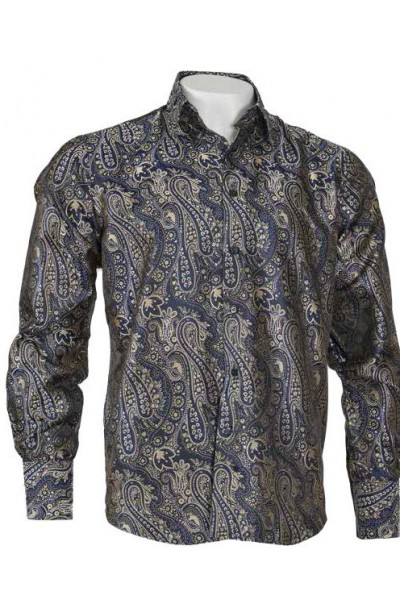 Men's Fashion Shirt by Merc/InSerch - Jacquard / Pattern Navy