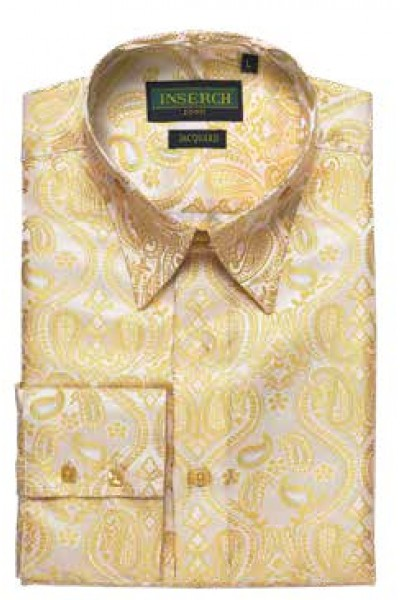 Men's Fashion Shirt by Merc/InSerch - Jacquard / Yellow Paisley a