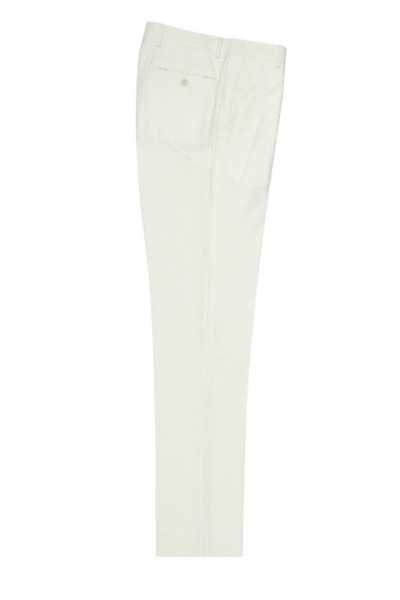 Men's Flat-Front Pants by Tiglio - Off White