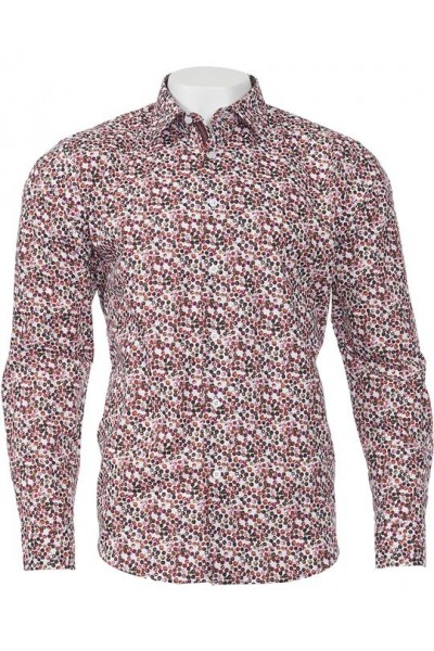 Men's 100% Cotton Shirt by Inserch / Merc - Dot Pattern / Magenta