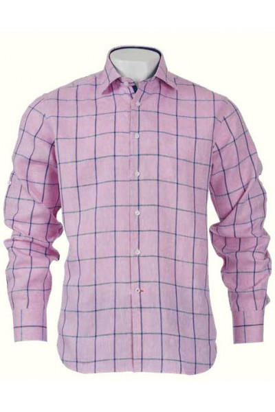 Men's Fashion Shirt by Inserch / Merc - 100% Linen / Pink Check
