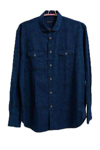 Men's Fashion Shirt by Gem Malki - Navy Shadow Floral a
