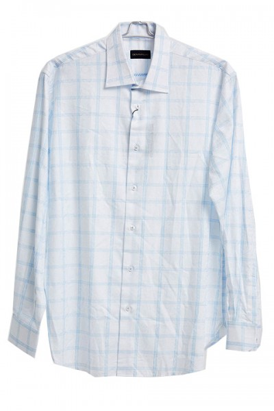 Men's Fashion Shirt by Gem Malki - Lt Blue Check a