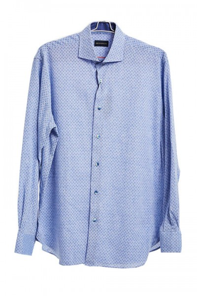 Men's Fashion Shirt by Gem Malki - Mini Ovals Blue