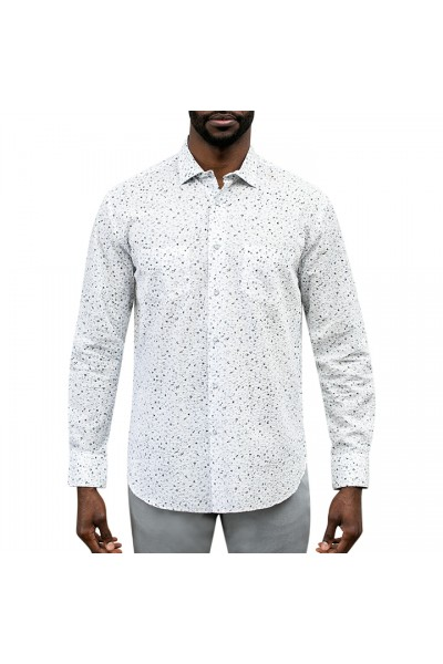 Men's Fashion Shirt by Gem Malki - White / Speckle a