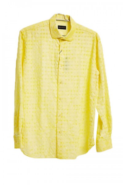 Men's Fashion Shirt by Gem Malki - Yellow Shadow Stripe a